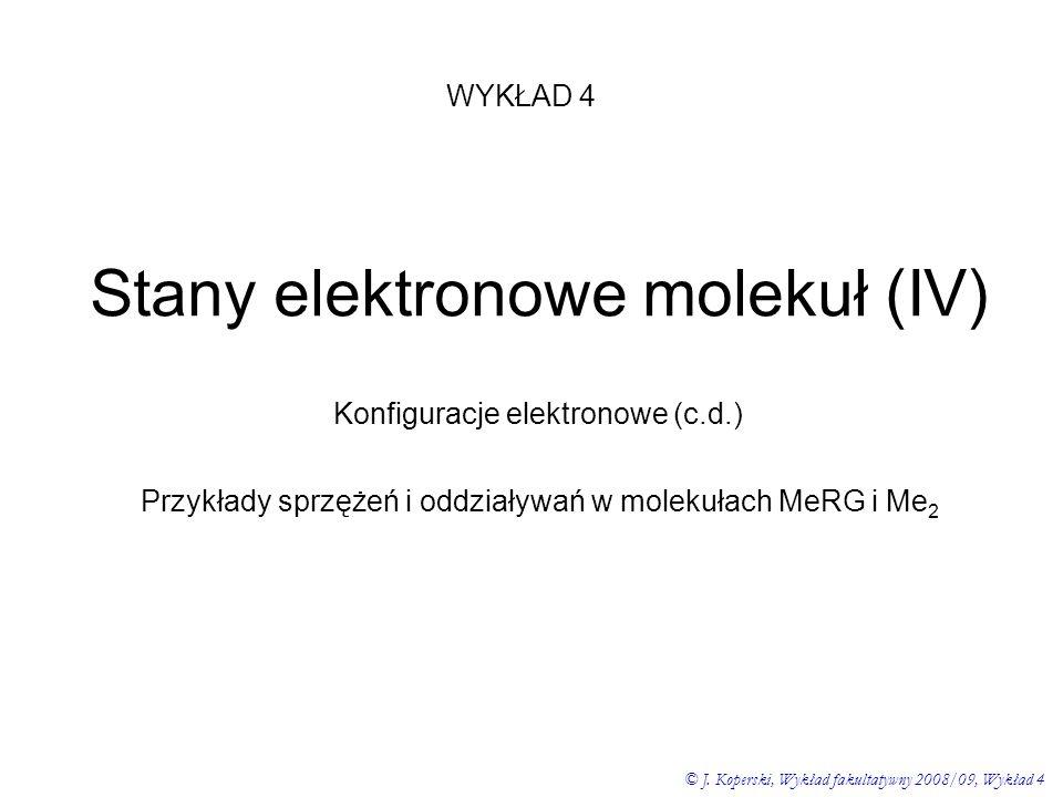 Stany elektronowe molekuł (IV) WYKŁAD 4 © J. Koperski, Wykład fakultatywny 2008/09, Wykład 4 Konfiguracje elektronowe (c.d.) Przykłady sprzężeń i oddz