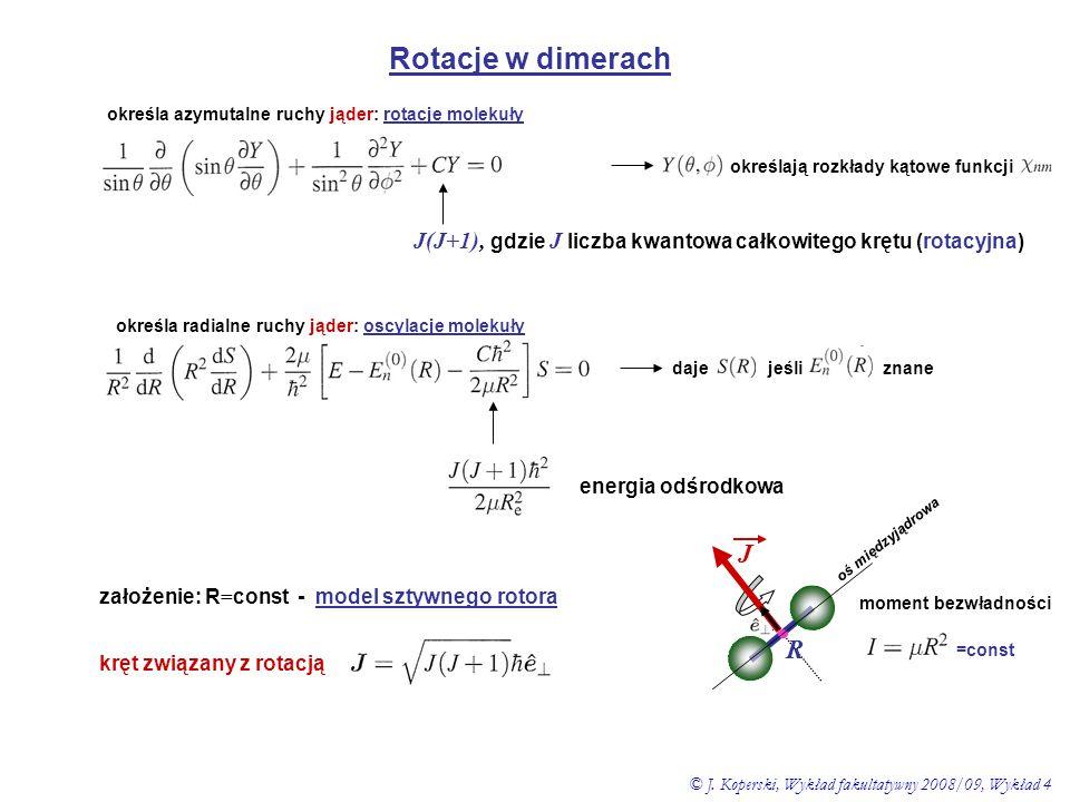 Rotacje w dimerach określają rozkłady kątowe funkcji określa azymutalne ruchy jąder: rotacje molekuły J(J+1), gdzie J liczba kwantowa całkowitego kręt
