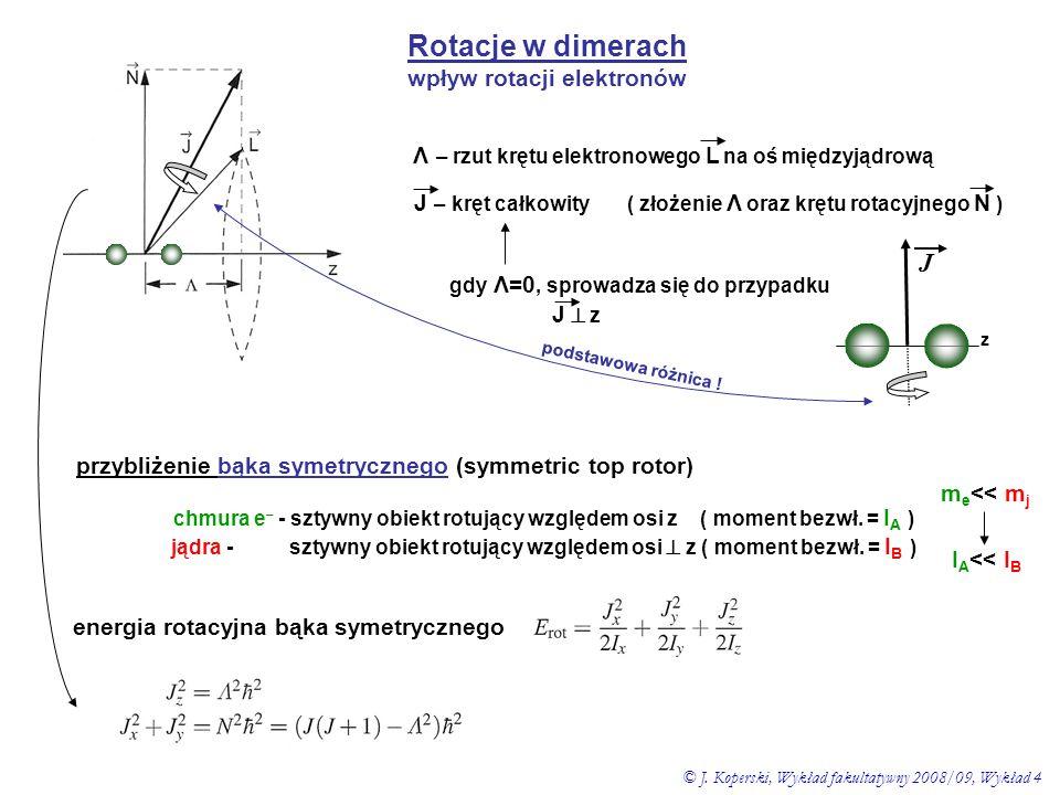 Rotacje w dimerach wpływ rotacji elektronów Λ – rzut krętu elektronowego L na oś międzyjądrową J – kręt całkowity ( złożenie Λ oraz krętu rotacyjnego