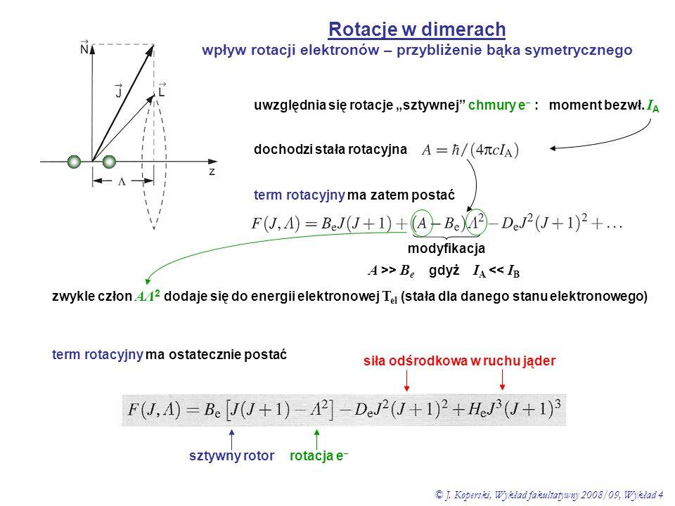 """Rotacje w dimerach wpływ rotacji elektronów – przybliżenie bąka symetrycznego uwzględnia się rotacje """"sztywnej"""" chmury e – : moment bezwł. I A dochodz"""