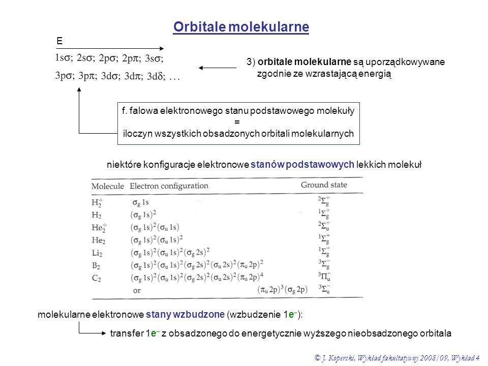 Orbitale molekularne 3) orbitale molekularne są uporządkowywane zgodnie ze wzrastającą energią E niektóre konfiguracje elektronowe stanów podstawowych