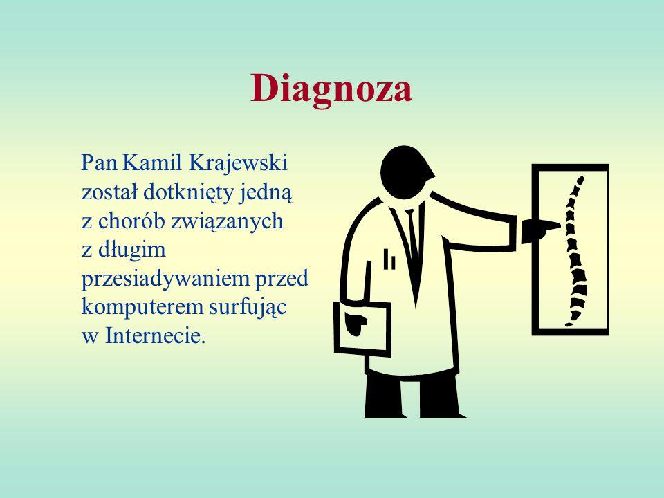 Pan Kamil Krajewski Pacjent zjawił się do kliniki objawami:  ból pleców  ból nadgarstków  ból oczu  bezsenność
