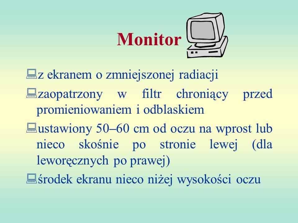 Monitor  z ekranem o zmniejszonej radiacji  zaopatrzony w filtr chroniący przed promieniowaniem i odblaskiem  ustawiony 50–60 cm od oczu na wprost lub nieco skośnie po stronie lewej (dla leworęcznych po prawej)  środek ekranu nieco niżej wysokości oczu