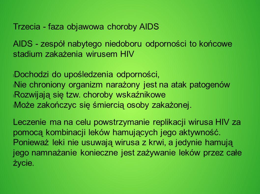 Trzecia - faza objawowa choroby AIDS AIDS - zespół nabytego niedoboru odporności to końcowe stadium zakażenia wirusem HIV Dochodzi do upośledzenia odporności, Nie chroniony organizm narażony jest na atak patogenów Rozwijają się tzw.