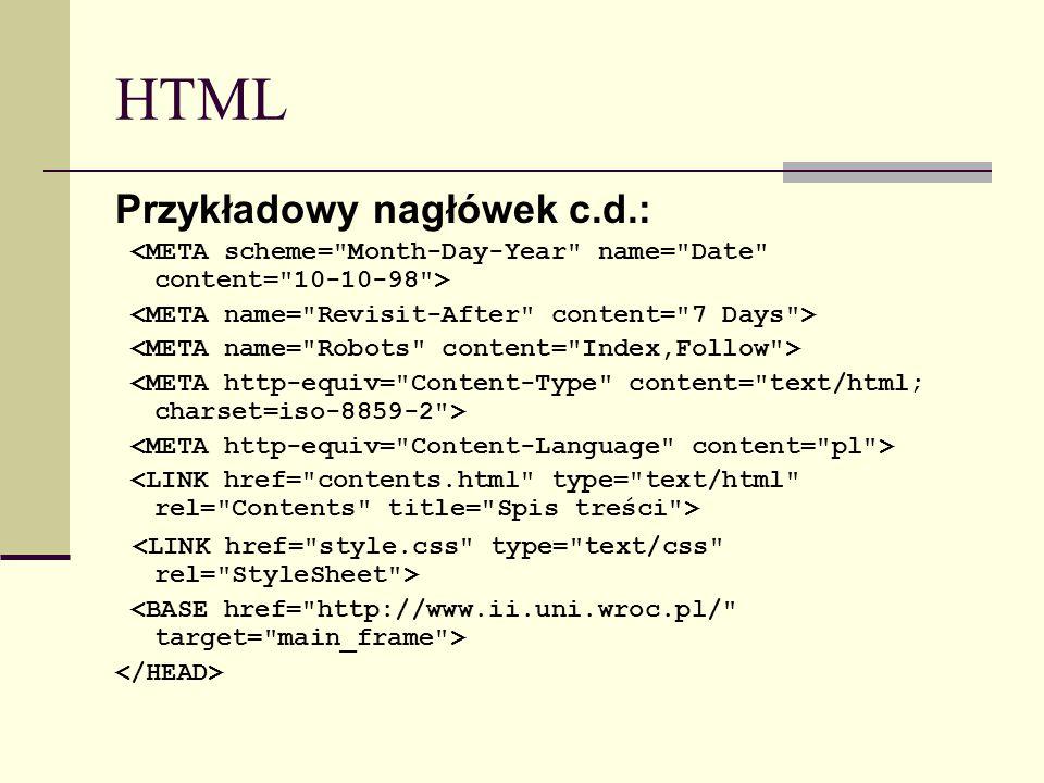 HTML Przykładowy nagłówek c.d.: