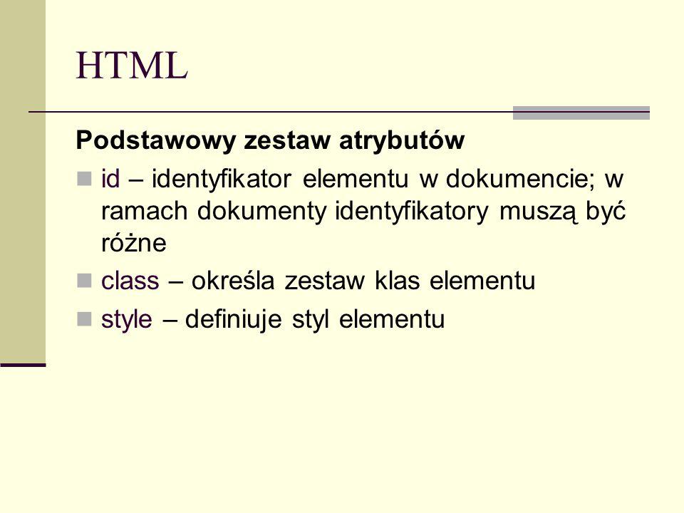 HTML Podstawowy zestaw atrybutów id – identyfikator elementu w dokumencie; w ramach dokumenty identyfikatory muszą być różne class – określa zestaw klas elementu style – definiuje styl elementu