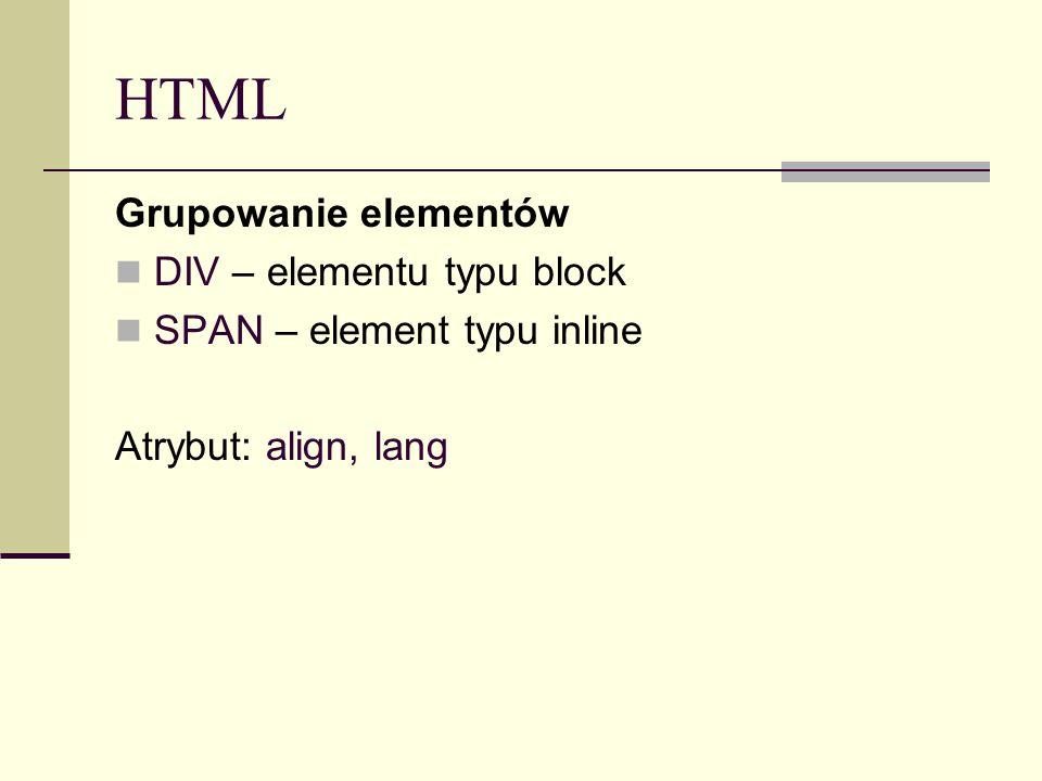 HTML Grupowanie elementów DIV – elementu typu block SPAN – element typu inline Atrybut: align, lang