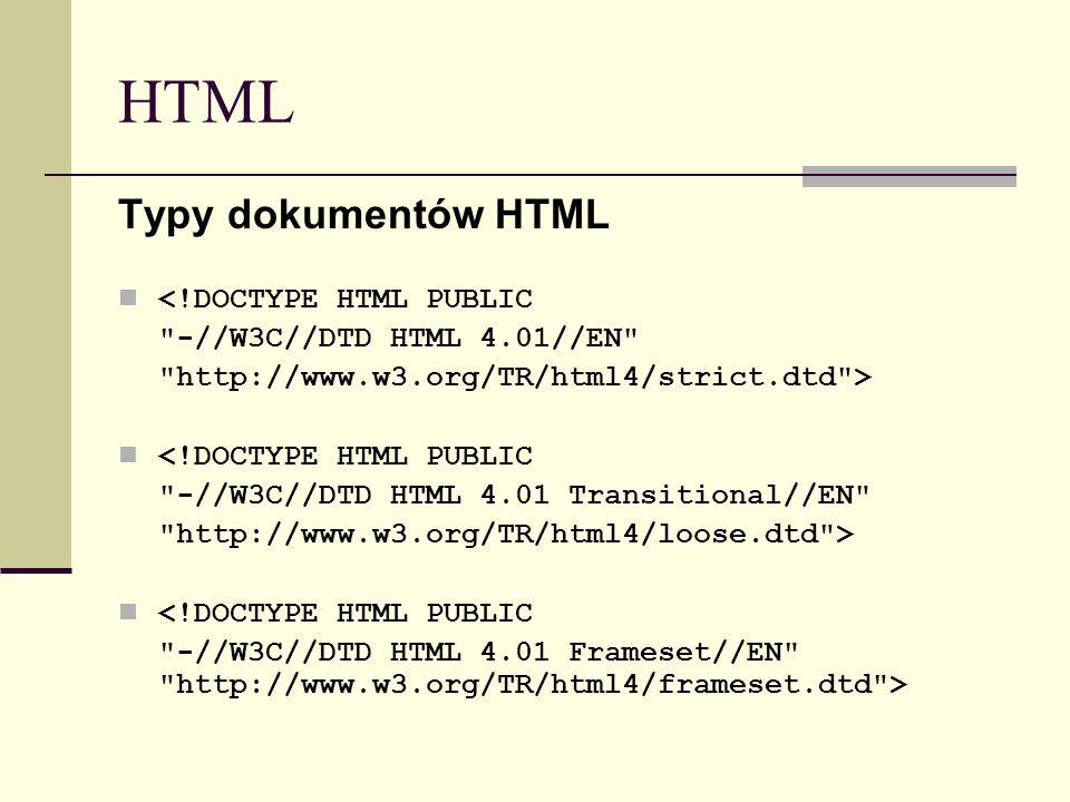 HTML Typy dokumentów HTML <!DOCTYPE HTML PUBLIC -//W3C//DTD HTML 4.01//EN http://www.w3.org/TR/html4/strict.dtd > <!DOCTYPE HTML PUBLIC -//W3C//DTD HTML 4.01 Transitional//EN http://www.w3.org/TR/html4/loose.dtd > <!DOCTYPE HTML PUBLIC -//W3C//DTD HTML 4.01 Frameset//EN http://www.w3.org/TR/html4/frameset.dtd >