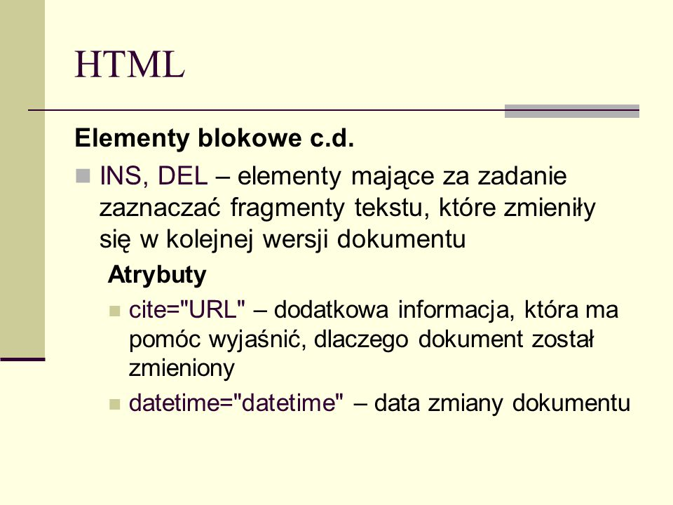 HTML Elementy blokowe c.d.