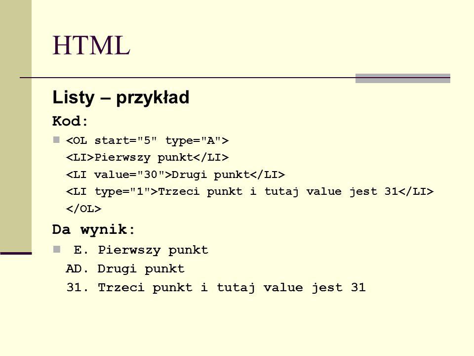 HTML Listy – przykład Kod: Pierwszy punkt Drugi punkt Trzeci punkt i tutaj value jest 31 Da wynik: E.