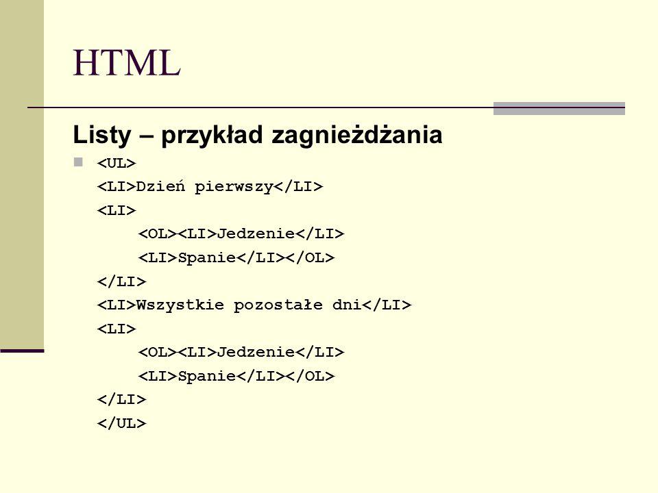 HTML Listy – przykład zagnieżdżania Dzień pierwszy Jedzenie Spanie Wszystkie pozostałe dni Jedzenie Spanie
