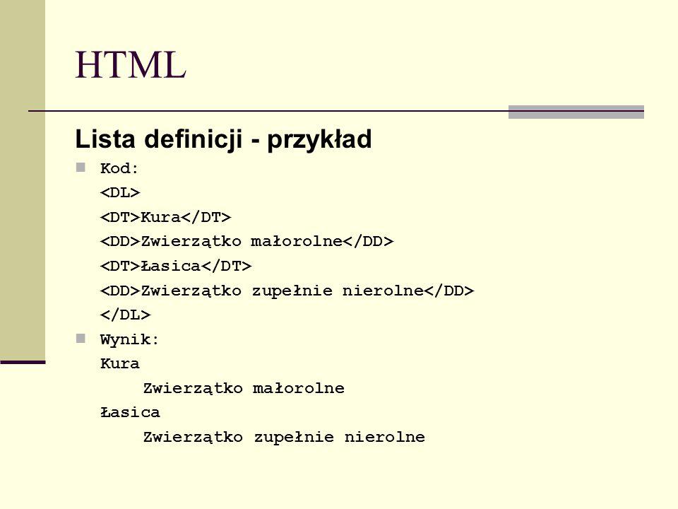 HTML Lista definicji - przykład Kod: Kura Zwierzątko małorolne Łasica Zwierzątko zupełnie nierolne Wynik: Kura Zwierzątko małorolne Łasica Zwierzątko zupełnie nierolne