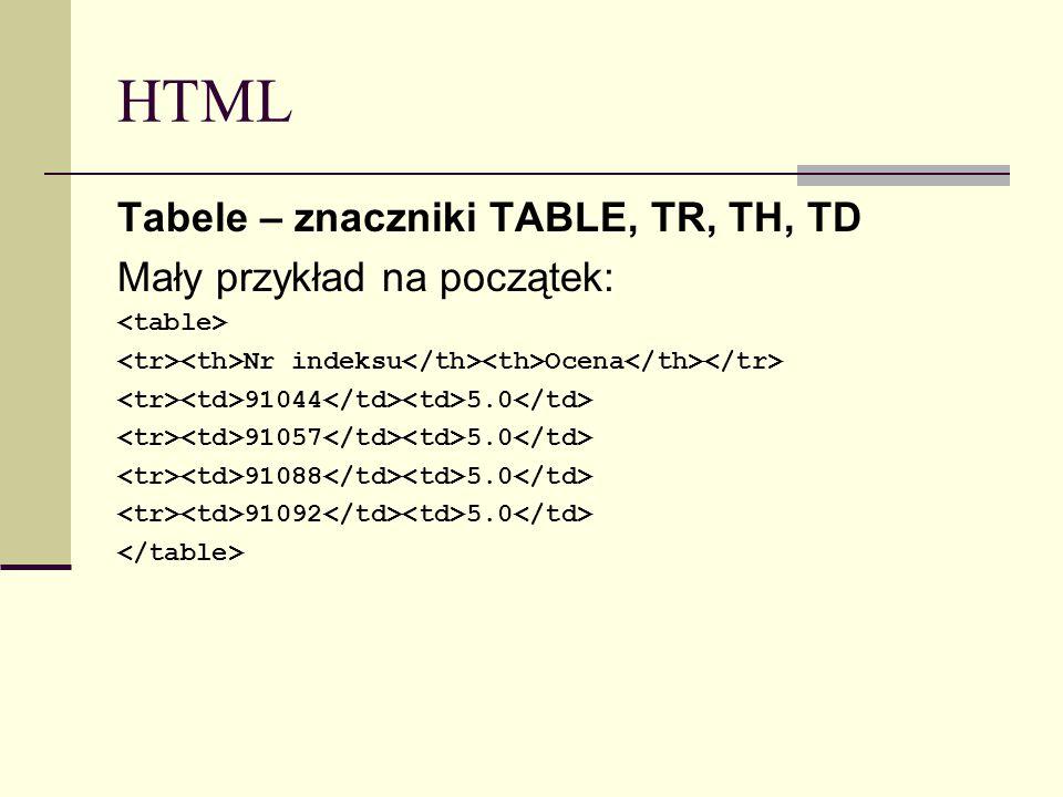 HTML Tabele – znaczniki TABLE, TR, TH, TD Mały przykład na początek: Nr indeksu Ocena 91044 5.0 91057 5.0 91088 5.0 91092 5.0