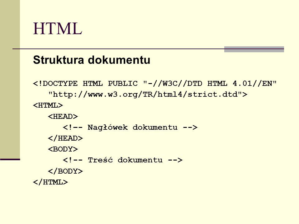 HTML Struktura dokumentu <!DOCTYPE HTML PUBLIC -//W3C//DTD HTML 4.01//EN http://www.w3.org/TR/html4/strict.dtd >