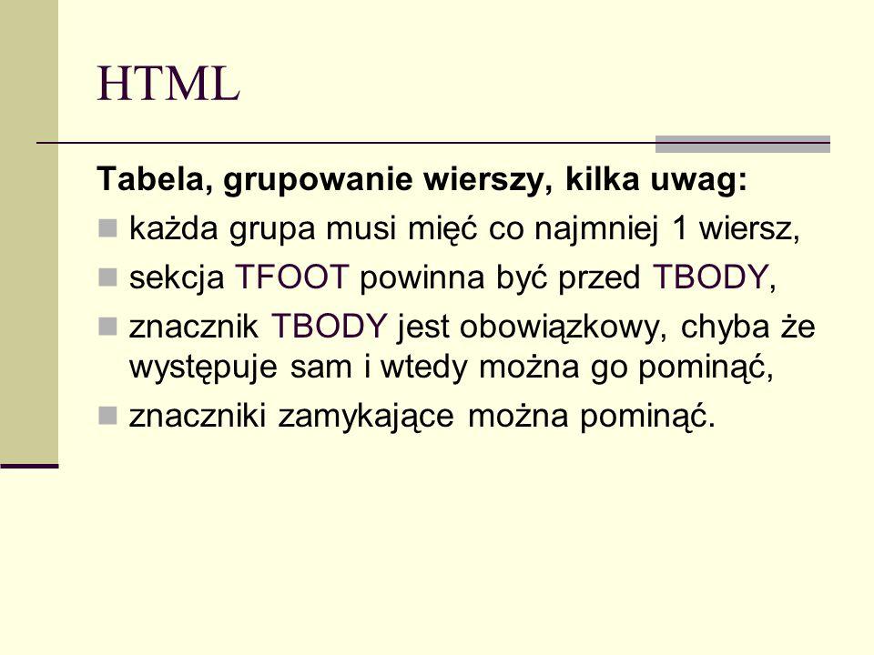 HTML Tabela, grupowanie wierszy, kilka uwag: każda grupa musi mięć co najmniej 1 wiersz, sekcja TFOOT powinna być przed TBODY, znacznik TBODY jest obowiązkowy, chyba że występuje sam i wtedy można go pominąć, znaczniki zamykające można pominąć.
