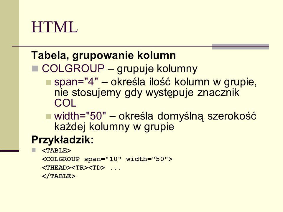 HTML Tabela, grupowanie kolumn COLGROUP – grupuje kolumny span= 4 – określa ilość kolumn w grupie, nie stosujemy gdy występuje znacznik COL width= 50 – określa domyślną szerokość każdej kolumny w grupie Przykładzik:...