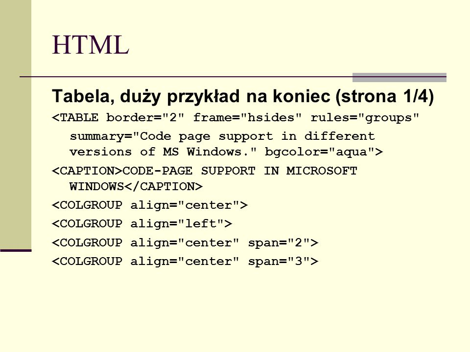 HTML Tabela, duży przykład na koniec (strona 1/4) <TABLE border=