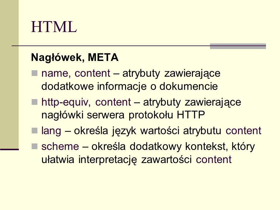 HTML Nagłówek, META name, content – atrybuty zawierające dodatkowe informacje o dokumencie http-equiv, content – atrybuty zawierające nagłówki serwera protokołu HTTP lang – określa język wartości atrybutu content scheme – określa dodatkowy kontekst, który ułatwia interpretację zawartości content