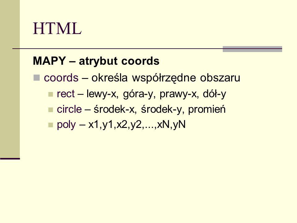 HTML MAPY – atrybut coords coords – określa współrzędne obszaru rect – lewy-x, góra-y, prawy-x, dół-y circle – środek-x, środek-y, promień poly – x1,y1,x2,y2,...,xN,yN