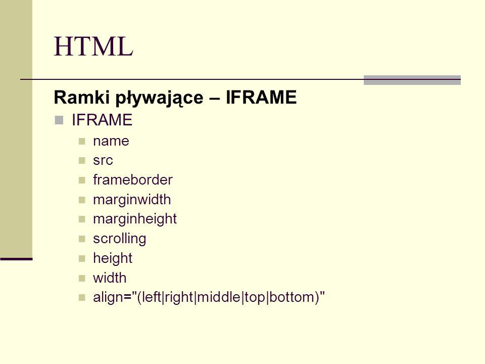 HTML Ramki pływające – IFRAME IFRAME name src frameborder marginwidth marginheight scrolling height width align=