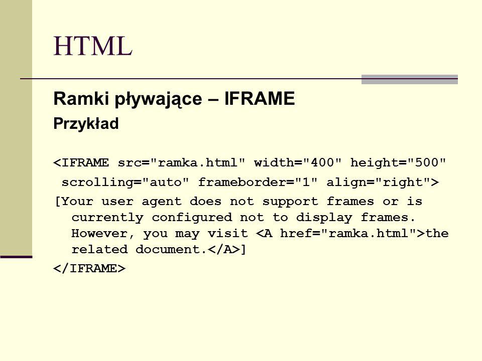 HTML Ramki pływające – IFRAME Przykład <IFRAME src=