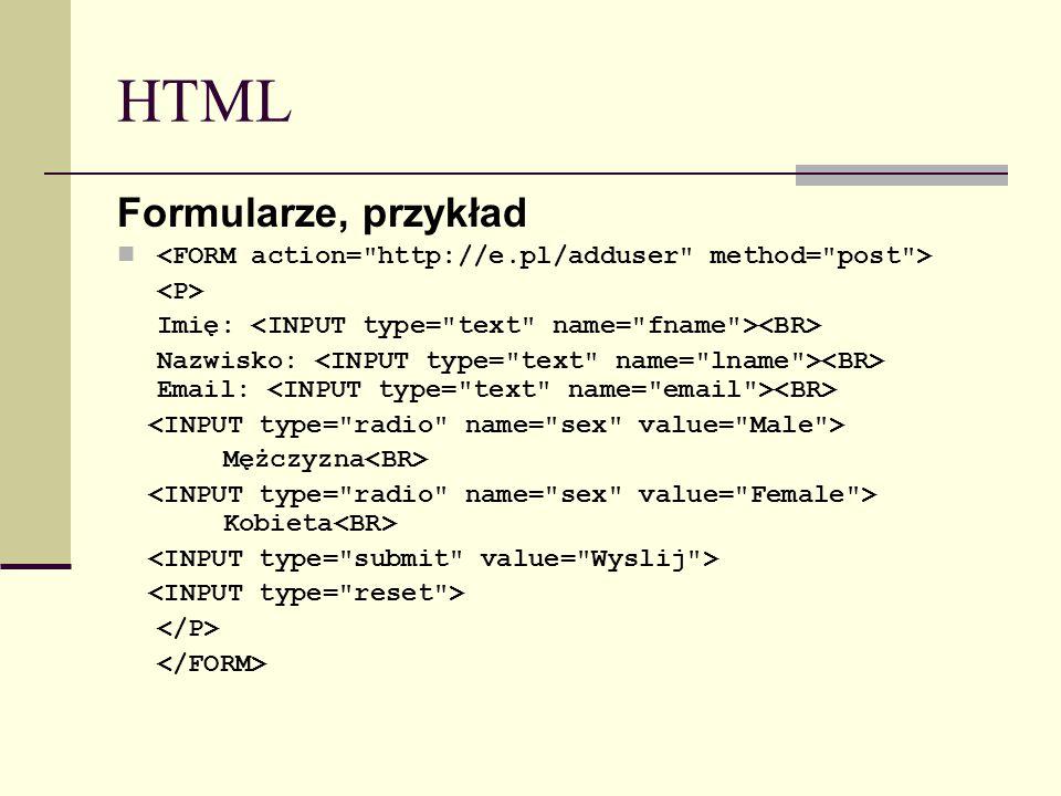 HTML Formularze, przykład Imię: Nazwisko: Email: Mężczyzna Kobieta