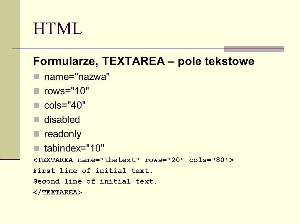 HTML Formularze, TEXTAREA – pole tekstowe name=