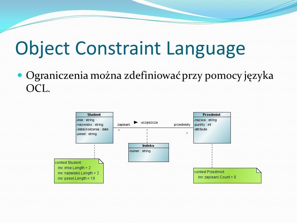 Object Constraint Language Ograniczenia można zdefiniować przy pomocy języka OCL.