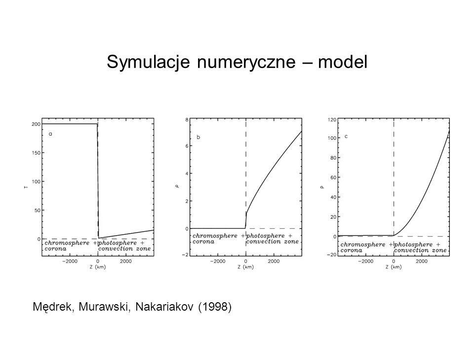 Symulacje numeryczne – model Mędrek, Murawski, Nakariakov (1998)
