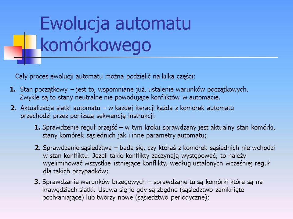 Ewolucja automatu komórkowego Cały proces ewolucji automatu można podzielić na kilka części: 1. Stan początkowy – jest to, wspomniane już, ustalenie w