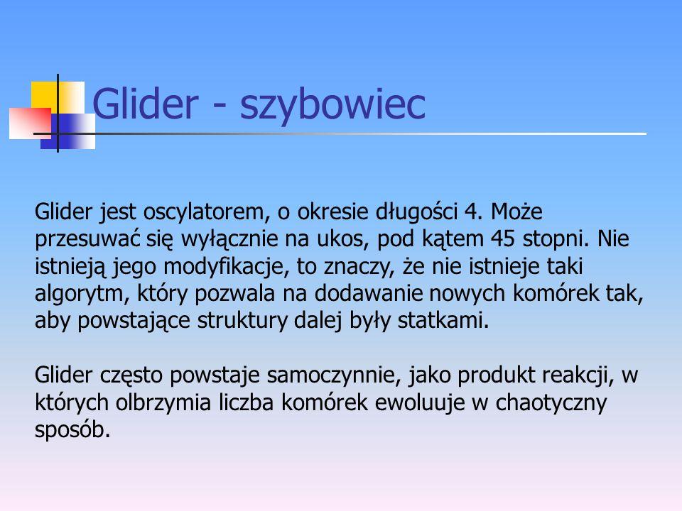 Glider - szybowiec Glider jest oscylatorem, o okresie długości 4. Może przesuwać się wyłącznie na ukos, pod kątem 45 stopni. Nie istnieją jego modyfik