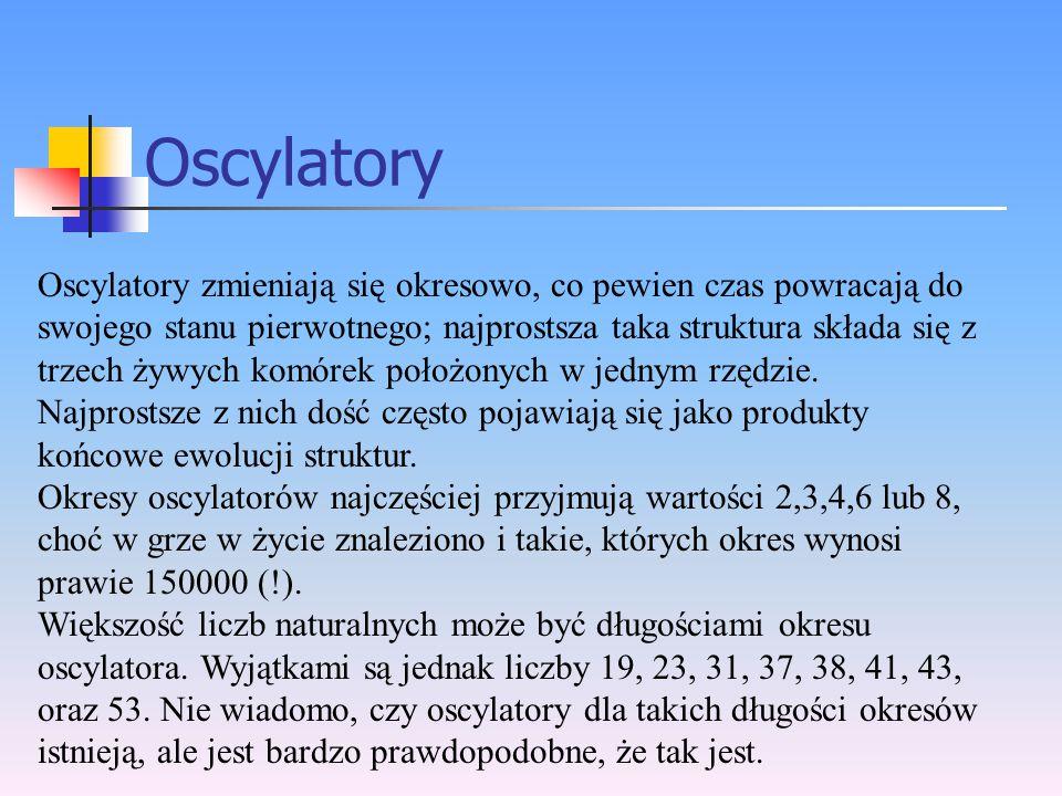 Oscylatory Oscylatory zmieniają się okresowo, co pewien czas powracają do swojego stanu pierwotnego; najprostsza taka struktura składa się z trzech ży