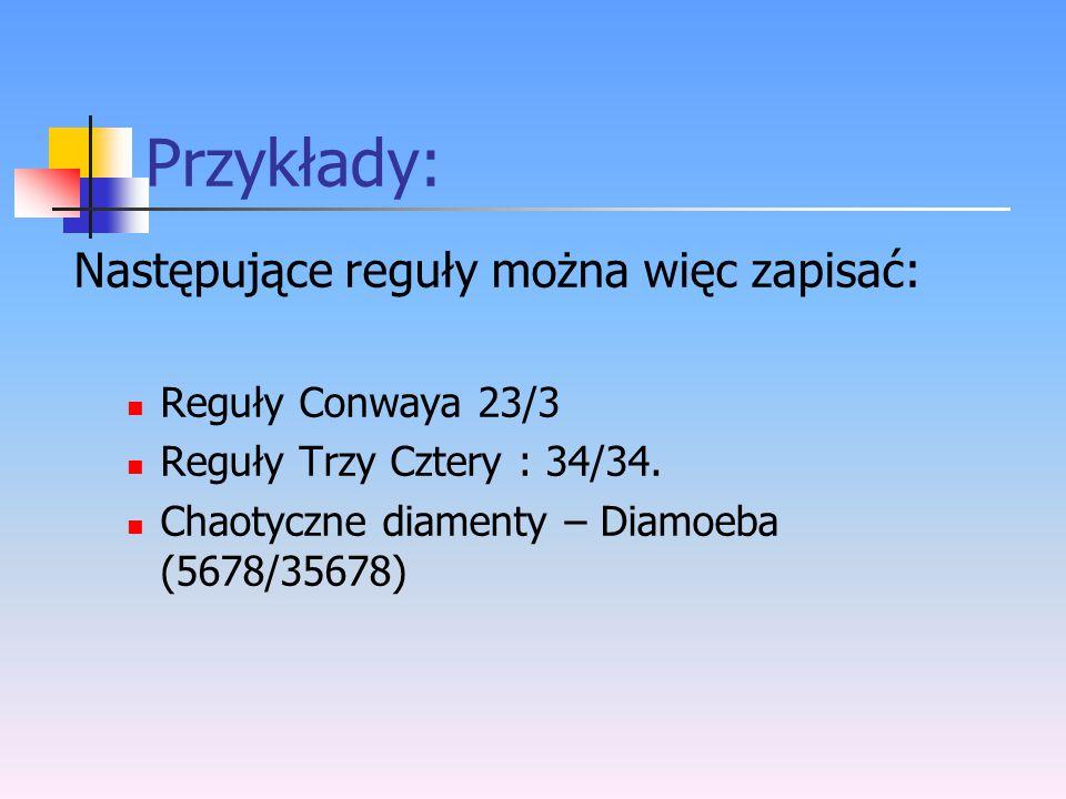 Przykłady: Następujące reguły można więc zapisać: Reguły Conwaya 23/3 Reguły Trzy Cztery : 34/34. Chaotyczne diamenty – Diamoeba (5678/35678)