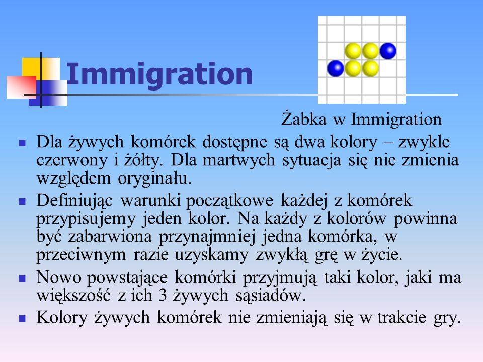 Immigration Żabka w Immigration Dla żywych komórek dostępne są dwa kolory – zwykle czerwony i żółty. Dla martwych sytuacja się nie zmienia względem or