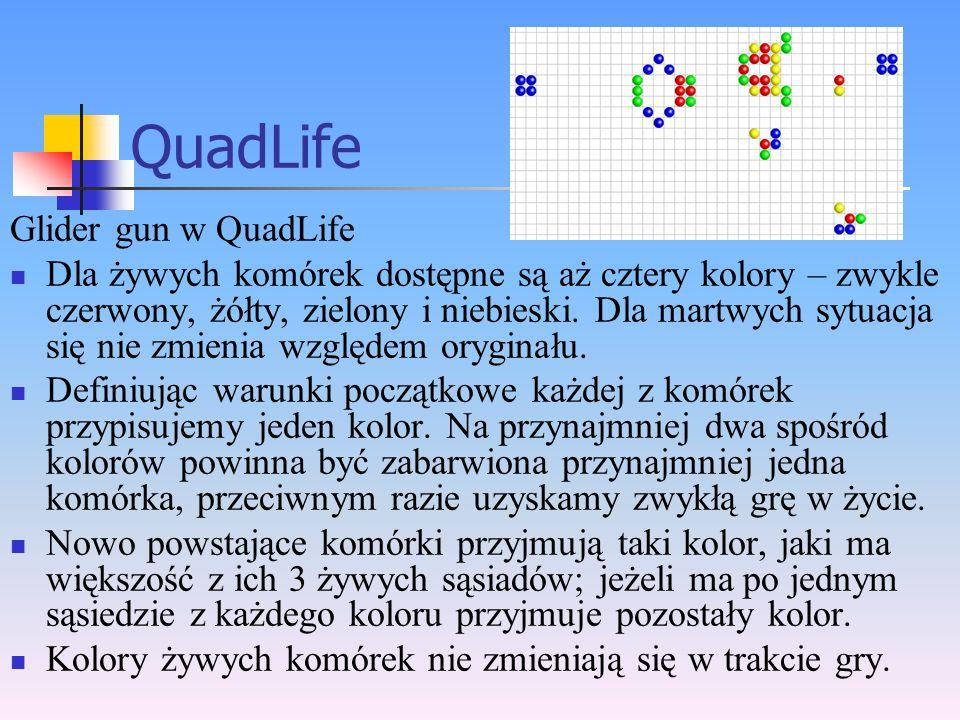 QuadLife Glider gun w QuadLife Dla żywych komórek dostępne są aż cztery kolory – zwykle czerwony, żółty, zielony i niebieski. Dla martwych sytuacja si