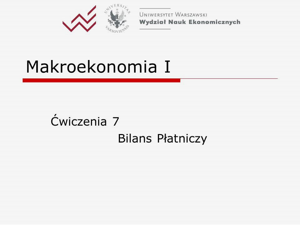 Makroekonomia I Ćwiczenia 7 Bilans Płatniczy