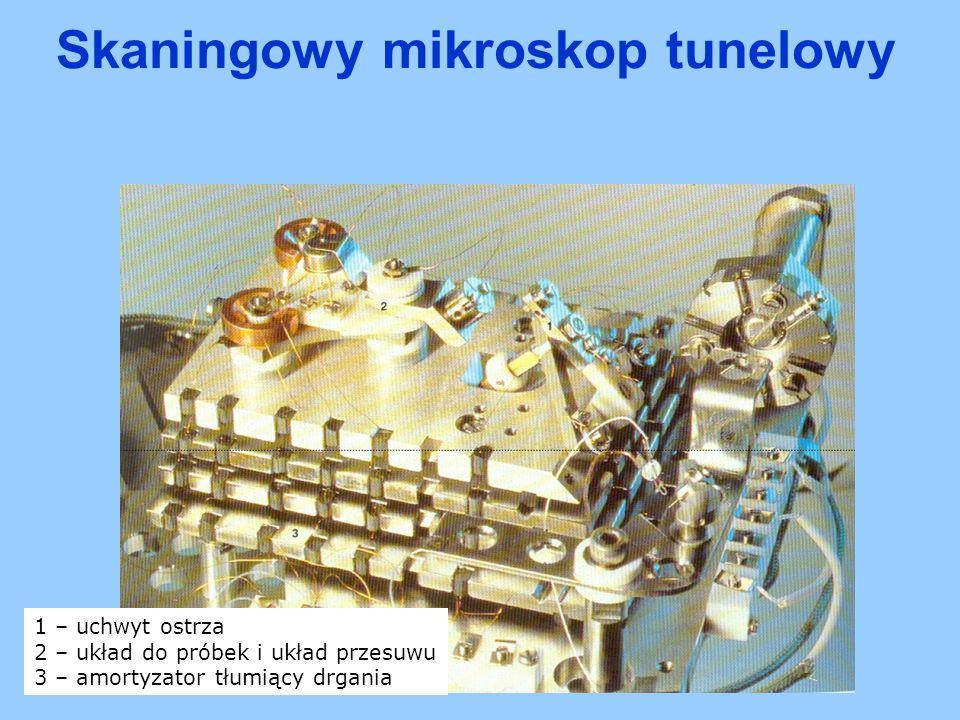 1 – uchwyt ostrza 2 – układ do próbek i układ przesuwu 3 – amortyzator tłumiący drgania Skaningowy mikroskop tunelowy