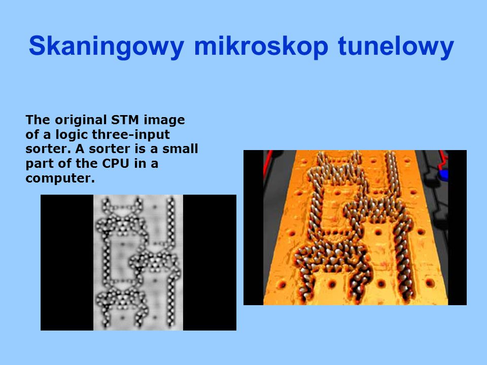 The original STM image of a logic three-input sorter. A sorter is a small part of the CPU in a computer. Skaningowy mikroskop tunelowy