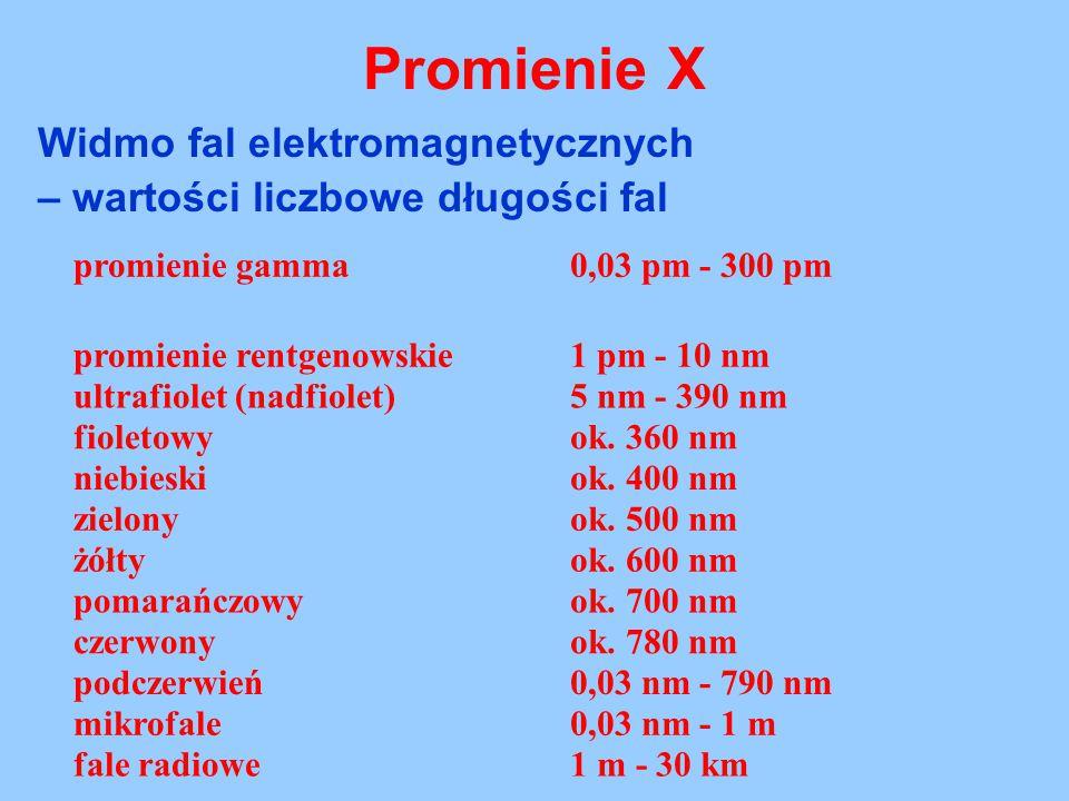 Widmo fal elektromagnetycznych – wartości liczbowe długości fal promienie gamma0,03 pm - 300 pm promienie rentgenowskie1 pm - 10 nm ultrafiolet (nadfi