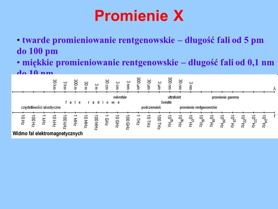 Promienie X twarde promieniowanie rentgenowskie – długość fali od 5 pm do 100 pm miękkie promieniowanie rentgenowskie – długość fali od 0,1 nm do 10 n