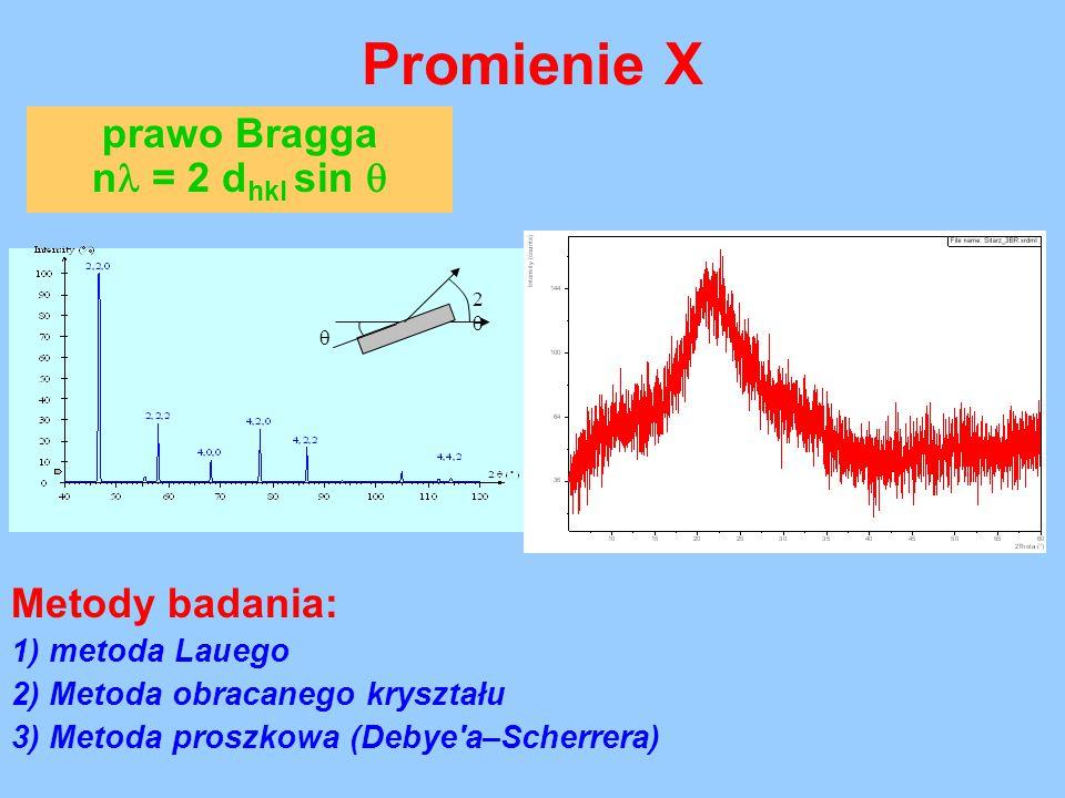 Promienie X prawo Bragga n = 2 d hkl sin  lampa Cu, =1.54562Ĺ  22 Metody badania: 1) metoda Lauego 2) Metoda obracanego kryształu 3) Metoda proszk