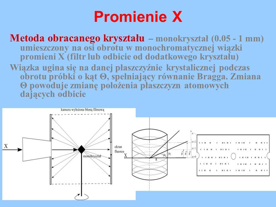 Promienie X Metoda obracanego kryształu – monokryształ (0.05 - 1 mm) umieszczony na osi obrotu w monochromatycznej wiązki promieni X (filtr lub odbici