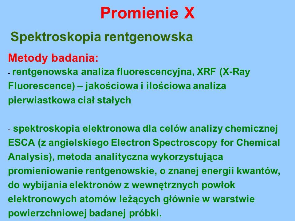 Spektroskopia rentgenowska Metody badania: - rentgenowska analiza fluorescencyjna, XRF (X-Ray Fluorescence) – jakościowa i ilościowa analiza pierwiast