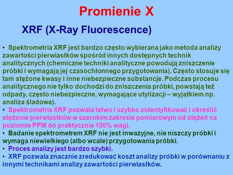 Promienie X XRF (X-Ray Fluorescence) Spektrometria XRF jest bardzo często wybierana jako metoda analizy zawartości pierwiastków spośród innych dostępn