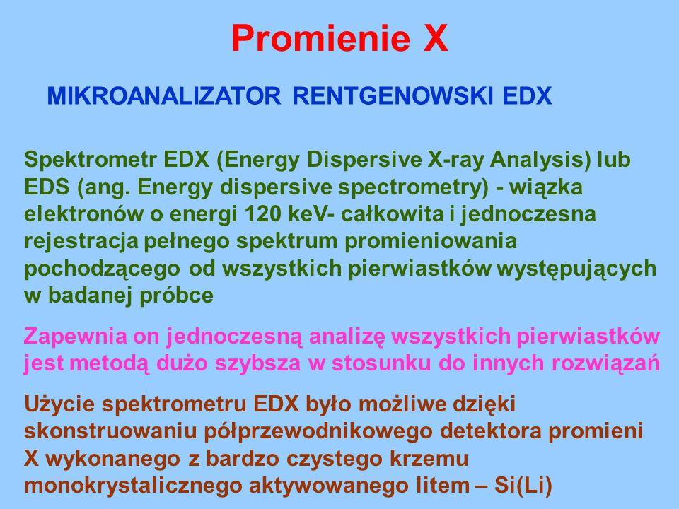 Promienie X Spektrometr EDX (Energy Dispersive X-ray Analysis) lub EDS (ang. Energy dispersive spectrometry) - wiązka elektronów o energi 120 keV- cał