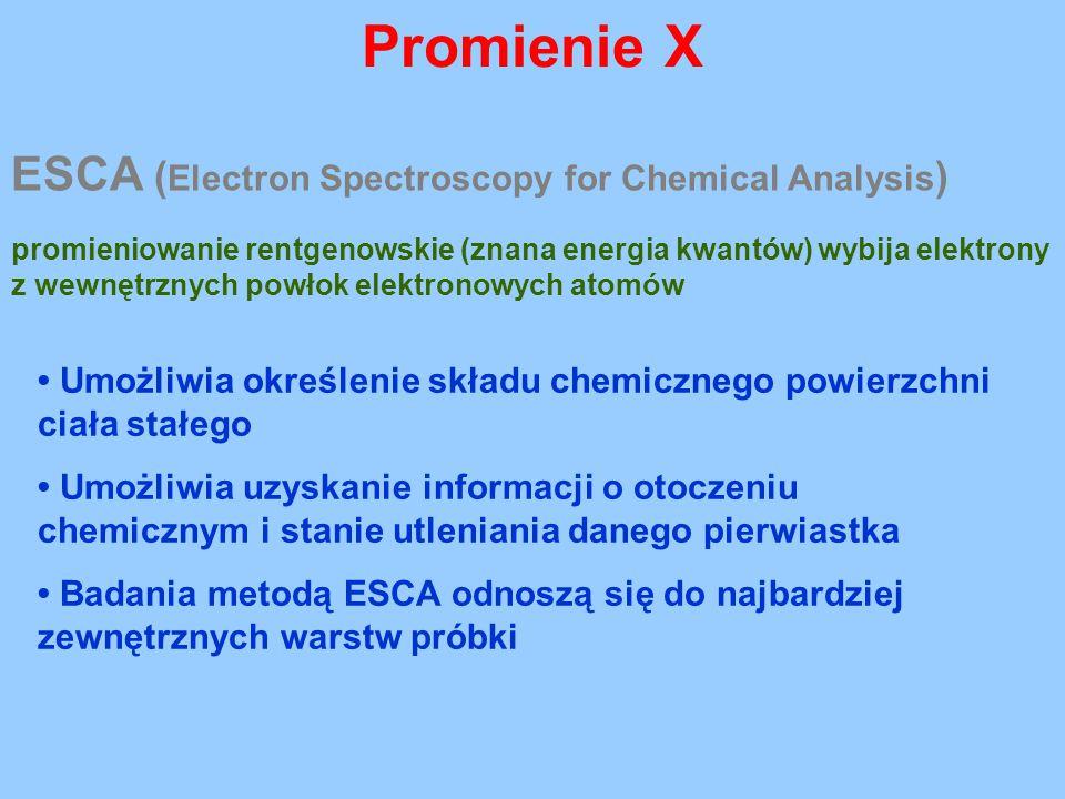 Promienie X ESCA ( Electron Spectroscopy for Chemical Analysis ) promieniowanie rentgenowskie (znana energia kwantów) wybija elektrony z wewnętrznych
