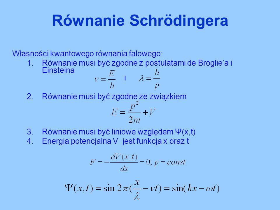 Własności kwantowego równania falowego: 1.Równanie musi być zgodne z postulatami de Broglie'a i Einsteina i 2.Równanie musi być zgodne ze związkiem 3.