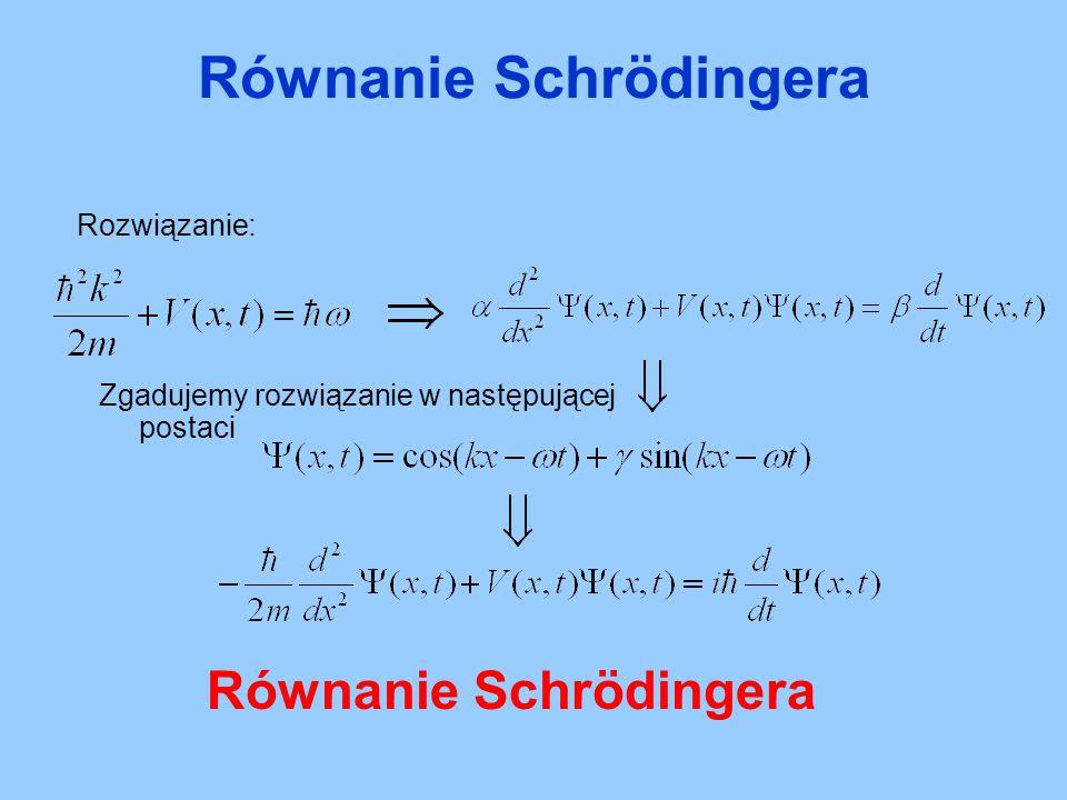 Rozwiązanie: Zgadujemy rozwiązanie w następującej postaci Równanie Schrödingera