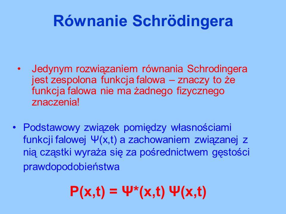 Jedynym rozwiązaniem równania Schrodingera jest zespolona funkcja falowa – znaczy to że funkcja falowa nie ma żadnego fizycznego znaczenia! Podstawowy