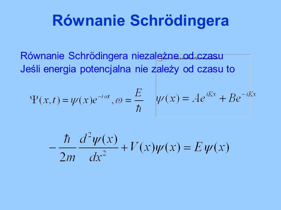 Równanie Schrödingera niezależne od czasu Jeśli energia potencjalna nie zależy od czasu to Równanie Schrödingera